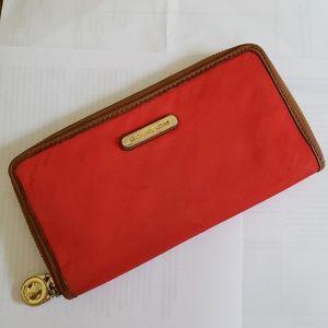 Michael Kors kempton gold and red orange wallet